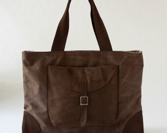 TOTE BAG in BROWN waxed canvas and dark brown nabuk leather/bags and purses/handmade bags/woman bags/handbags/waxed canvas bag/gifts for her