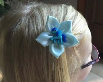 Blue Green Hair Clip/Hair Bow with a blue My Little Pony, Kanzashi, Girl's, Child's