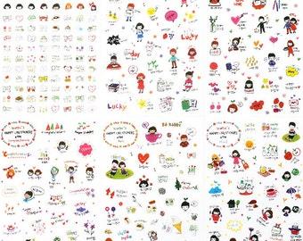 6 sheets Cartoon Love Garden Heart cake coffee Diary filofax planner Stickers