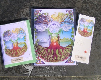 World Tree Notebook, Handmade  Bookmark and Card Gift Set
