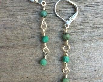Chrysoprase trio earrings
