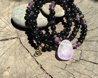 OBSIDIAN & AMETHYST Mala for Meditation   Yoga Beads   108 Mala Beads   Crystal Healing Mala   Om Yoga Necklace by Mayan Rose MayanRose