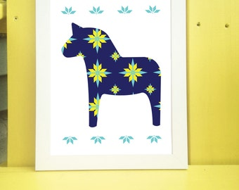 Dala Horse Digital Print Available for Instant Download 8x10 or 11x14