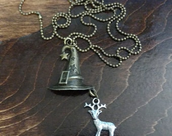 Harry Potter Inspired Sorting Hat Necklace with Patronus Stag Charm