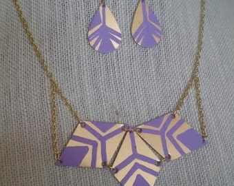 Hand Painted Brass Geometric Jewelry Set