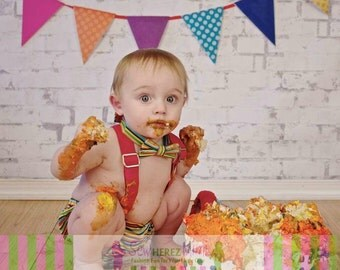 Cake Smash Multi Stripe and Red Infant 3 pc Set Diaper Cover, Suspenders, Bow Tie