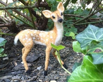 Needle felted miniature deer / fawn