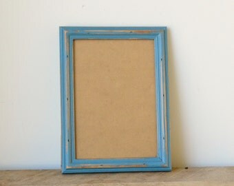 Shabby Chic Rustic Slate Blue Distressed Photo Frame - 7x5 inches