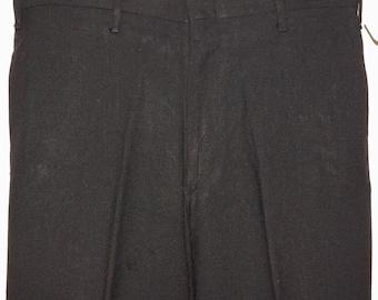 1960s Mens Black Cotton Flat Front Slacks 32x27 Vintage Retro
