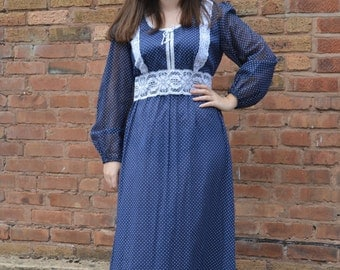 1970s Blue White Polka Dot Hippie Prairie Maxi Dress