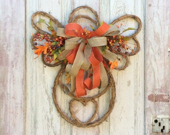 Fall door wreath, Fall wreath for door, Fall swag, fall door hanger, harvest wreath, autumn wreath, fall wreaths, fall angel door hanger