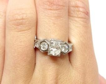 14k White Gold 0.82ctw Oval Diamond Ring