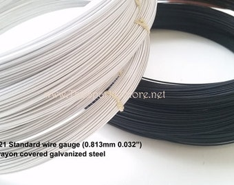 21 gauge black millinery hat wire, 60 yard coil, galvanized steel wire covered in rayon, made in the USA, 21 swg black wire