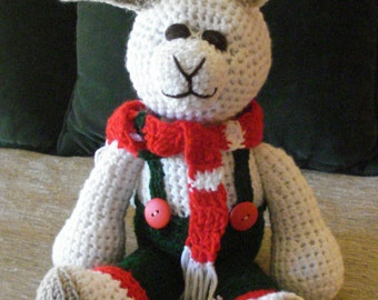 "Crocheted bunny rabbit stuffed animal doll toy ""Rudy"""