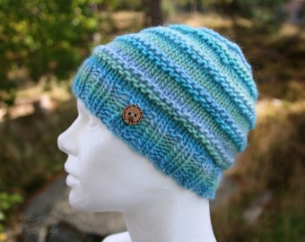 Slouchy beanie hat - handknit slouchy beanie in blue and green, perfect gift for him or her, holiday gift