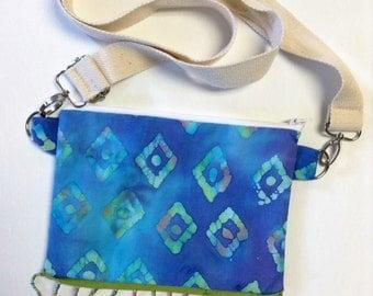 Blue Batik Crossbody Bag with Bead Fringe