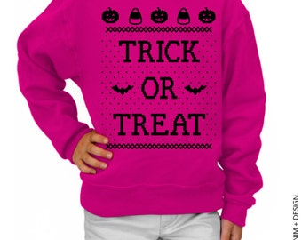 Kids - Trick or Treat - Pink with Black Ink Youth Crew Neck Sweatshirt - Halloween Sweater