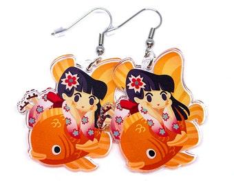 Cute Japanese Girl Earrings,  Kimono Earrings, Koi, Sakura, Hanami, Japan earrings, sakura earrings, kawaii anime, anime lover, japanese