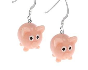 3-D Hand Painted Resin Pink Pig Earrings