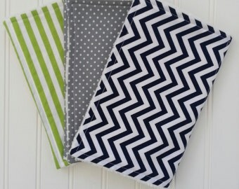 Baby Boy Burp Cloth Set, Set of 3 Burp Cloths: Navy and White Chevron, Gray and White Polka Dot and Lime Green and White Stripe