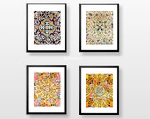 Wall art prints, Set of 4 photographs, Spanish tiles, best gifts for her, SAVE 15%, Gaudi, Gallery wall prints, Fine Art photography
