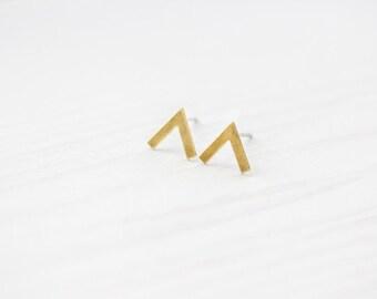 Brass Chevron Minimal Ear Studs