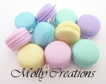 10 Pendants Fimo Macarons