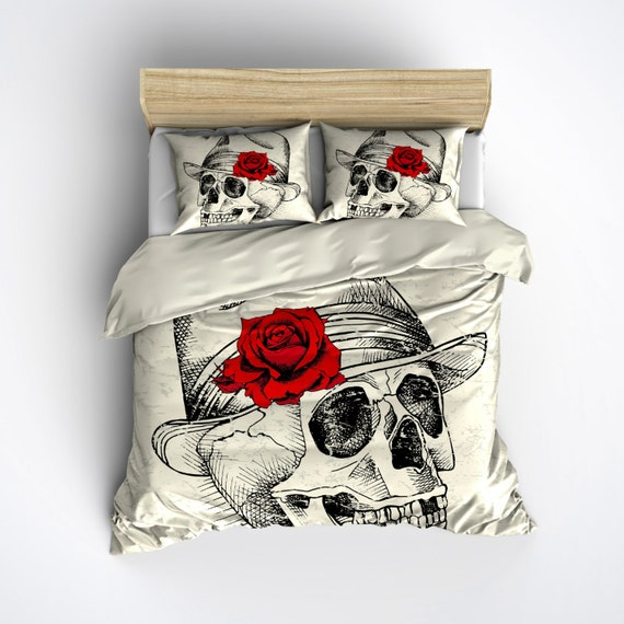 Featherweight Skull Bedding Skull Fedora Red Rose by