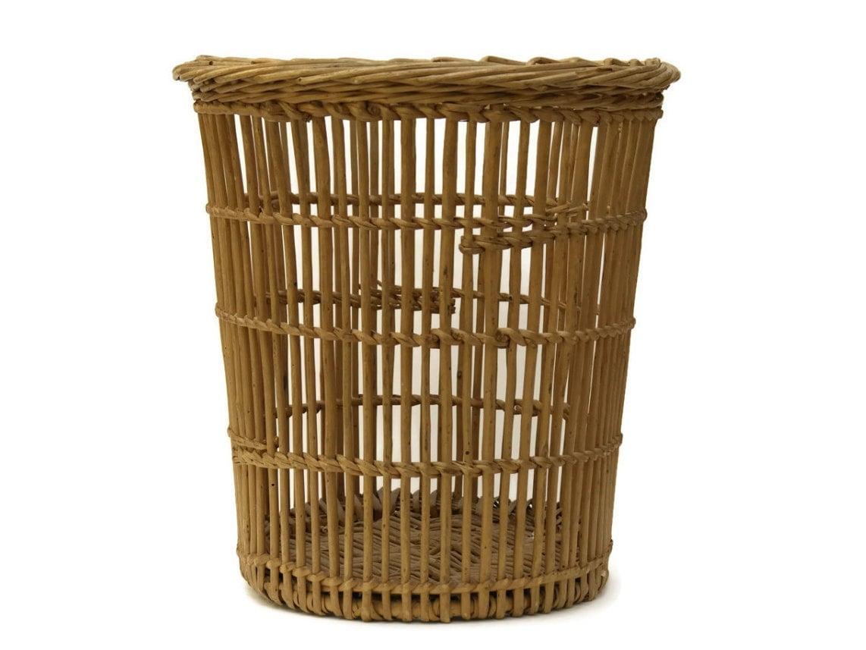 Woven Cane Wastepaper Bin. Vintage Waste Basket. Bathroom Bin.