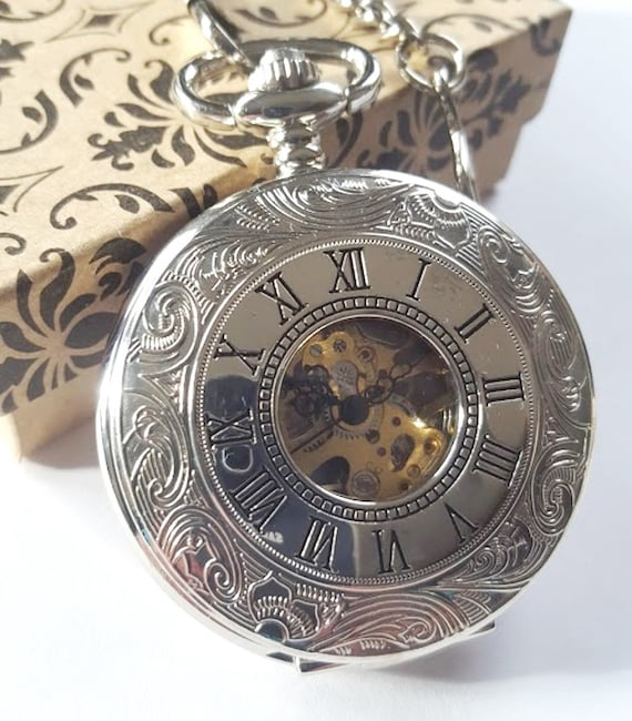 engraved pocket silver mechanical personalized
