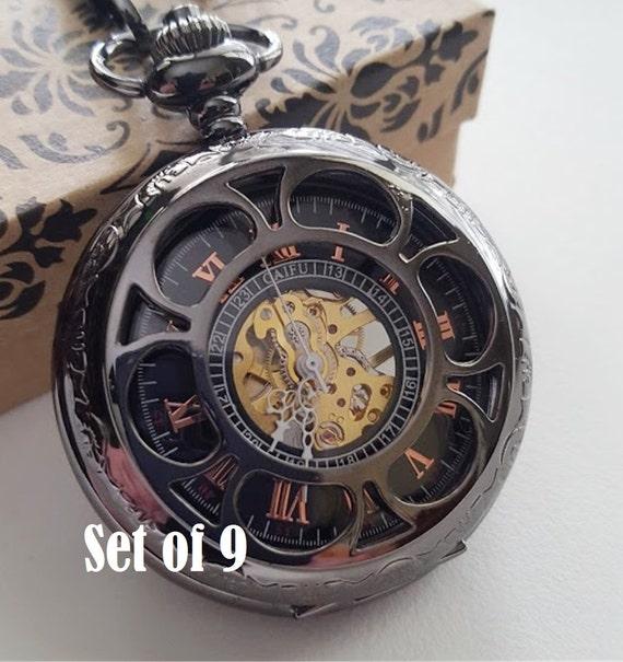 set of 9 engraved pocket gunmetal by pocketwatchpurveyor