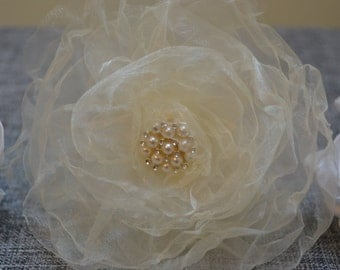 Ivory organza hand made flower