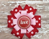 Love Hair Bow -  Love Hair Clip - Large Valentine Hair Bow - Valentine Hair Accessory - Girls Valentine Gift - Red Polka Dot Love Hair Bow