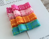 Hair Clips - Bright Hair Clip - Hair Clip for Baby - Baby Hair Clip - Set of 4 baby barrettes -  Baby Hair Clip - Bright Color Hair Bows