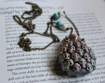 Skulls Amulet Spell Bottle necklace