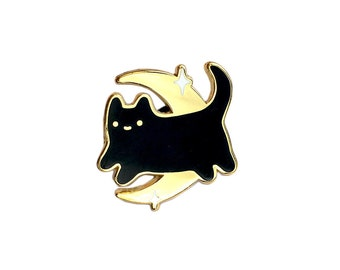 Black Midnight Baby Cat - Gold Metal Lapel Badge - Cute Illustration by Sparkle Collective