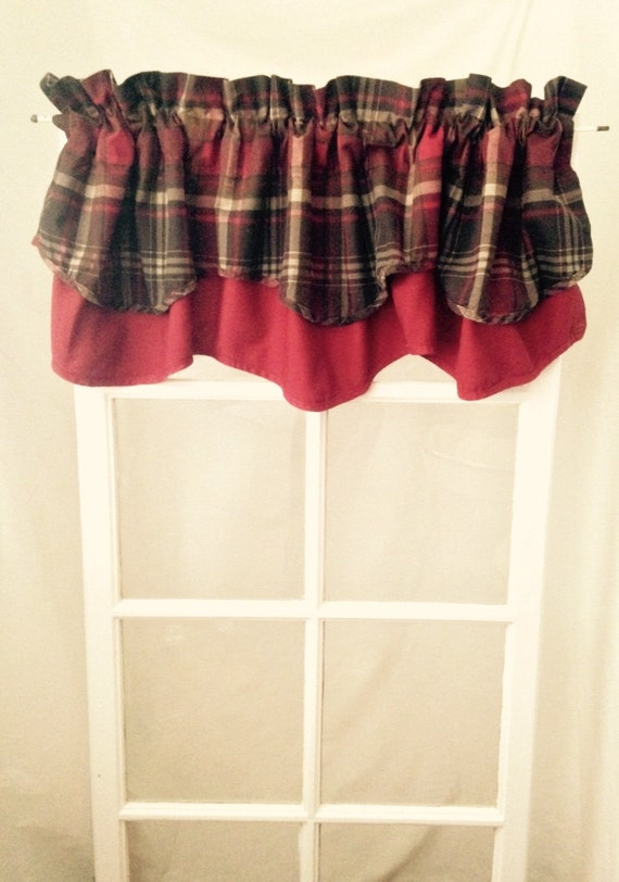 Groovy Maroon And Brown Plaid Curtain Double Valance Cotton