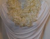 LYI95: Lace Yarn Infinity Scarf (Whiteand Gold) FREE SHIPPING