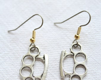 "Dangle earrings. ""Knuckles"" Knuckle Duster"