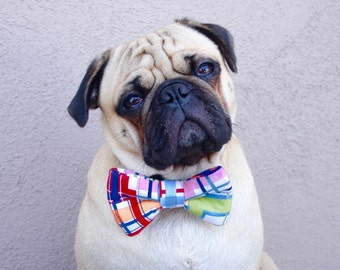 Dog Bow Tie in Nautical Plaid. Wedding Day Doggie Tie - Dog Bow Tie Only, Collar NOT Included