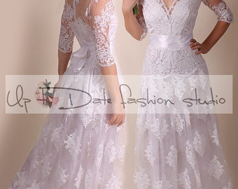 Lace Wedding dress/front V neck/A line  Bridal Gown/ with sleeve