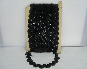 Black Sequin Trim / Over 12 Yards of Vintage Sparkly Black Sequin Trim