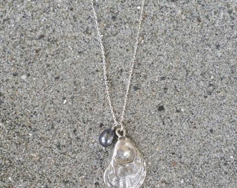 Oyster Shell Necklace, Sea Shell, Silver Necklace, Pearl Necklace