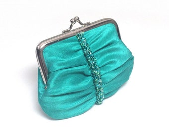 Spearmint 'Swarovski Elements' beaded coin purse
