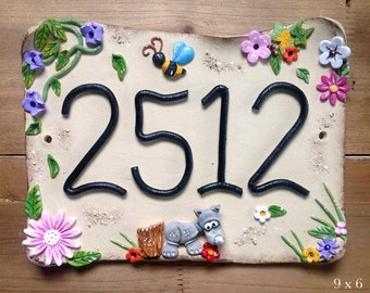 House sign, address number and name sign, Ceramic, Baby Rhino Design