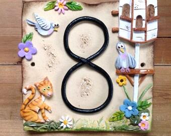 House number sign, address number plaque, Ceramic, Dovecote Design