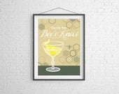 Wall Art - Illustration - Cocktail Art - Bee's Knees Cocktail - Home Decor - Bar Decor - Bar Art