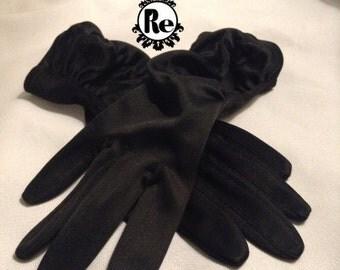 Vintage Ladies Gloves Black Gathered Arm  No. 51