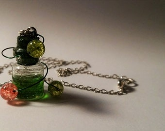 Disgust Vial Necklace - Disney Inside Out Inspired - Handmade Corked Glass Bottle - Memory Balls