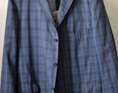 Vtg. NORTHCOOL by SAGNER for W.M. LEVINE & Sons Blue Plaid GtH Ivy Style Sport Coat Sack Jacket Blazer Approximately Size 46/48 R/L Long